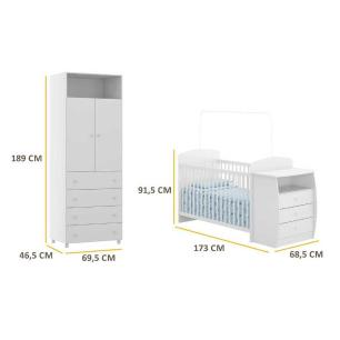 Guarda Roupa de 2 portas e 4 gavetas e berço-cômoda Rafael Multimóveis Branco