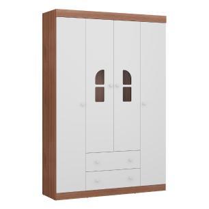 Quarto Completo infantil New Cristal Multimóveis Avelã/Branco com Berço mini cama + Guarda roupa 4 portas + cômoda 1 Porta e 4 Gavetas