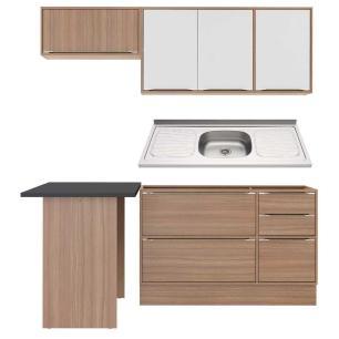 Cozinha Compacta com Pia Inox, Mesa e Rodapé 6 peças Calábria Multimóveis MP3218 Madeirado/Branco