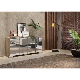 Aparador Buffet 4 portas com Espelho e Pés Quadrados Vegas Multimóveis Rustic/Branco