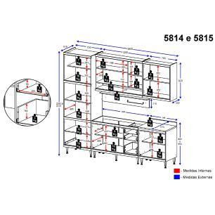 Cozinha Completa Multimóveis com 6 peças Sicília 5814 Argila/Branco