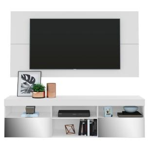 Painel TV até 65 polegadas com Rack Suspenso e Espelho Flórida Multimóveis Branco