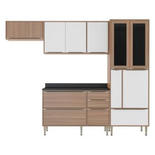 Cozinha Completa Multimóveis com 5 peças Calábria 5453 Nogueira/Branco