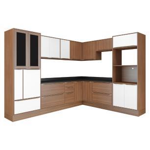 Cozinha Completa Multimóveis com 14 peças Calábria 5461R Nogueira/Branco