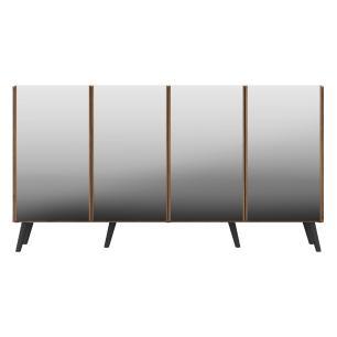Aparador Buffet 4 portas com Espelho e Pés Retrô Vegas Multimóveis Rustic/Preto
