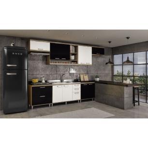 Cozinha Completa com 7 peças Sicília Multimóveis Argila/Branco/Preto