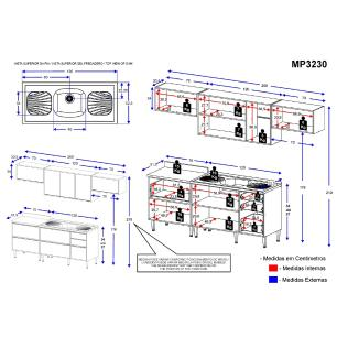 Cozinha Compacta com Pia Inox 6 peças Calábria Multimóveis MP3230 Madeirado/Branco
