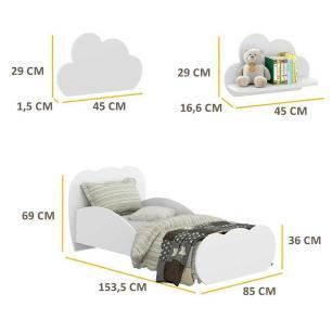 Minicama Nuvem com 2 Prateleiras Nuvem Multimóveis Branco REF. 2817.156