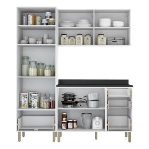 Cozinha Completa 4 peças Americana Multimóveis 5902 Branco/Grafite