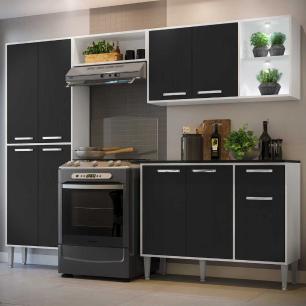 Cozinha Completa Compacta c/ 2 Leds, Armário e Balcão c/ Tampo 4 pçs Xangai Multimóveis Branca/Preta