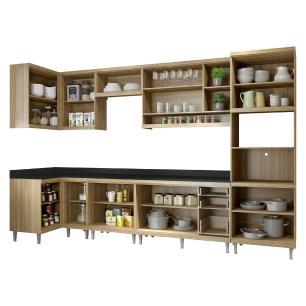 Cozinha Completa Multimóveis com 8 peças Sicília 5831 Argila/Grafite