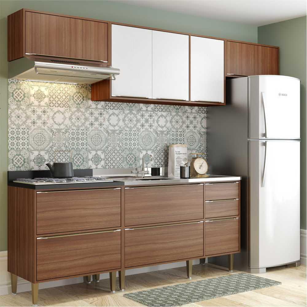 Cozinha Completa Multimóveis com 5 peças Calábria 5456 Nogueira/Branco
