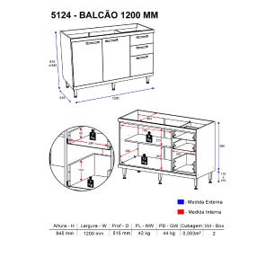 Balcão Multimóveis Sicília 120cm para pia 5124 Argila/Grafite