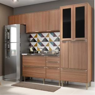 Cozinha Compacta Multimóveis com 4 peças Calábria 5453 Nogueira