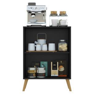 Aparador Cantinho do Café com Espelho e Pés Retrô 2 Portas Multimóveis Preto/Natural