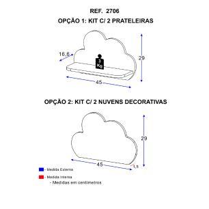 Kit Prateleiras Multimóveis Nuvem 100% MDF Cinza REF.2706