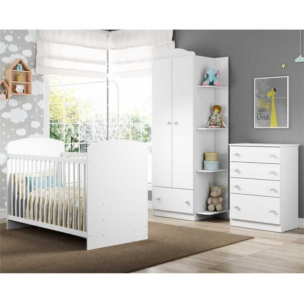 Quarto Infantil completo João e Maria Multimóveis Branco/Colorido com Berço + Guarda roupa 2 portas + cômoda 4 Gavetas