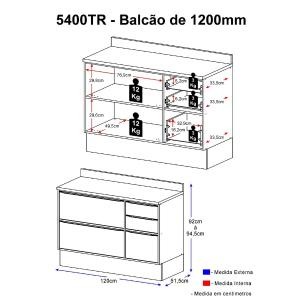 Balcão Multimóveis Calábria 120cm com Tampo 5400TR Nogueira com Rodapé