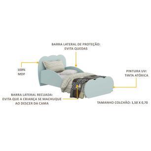 Cama Infantil para colchão 70 x 150 cm 100% MDF Nuvem Multimóveis Azul