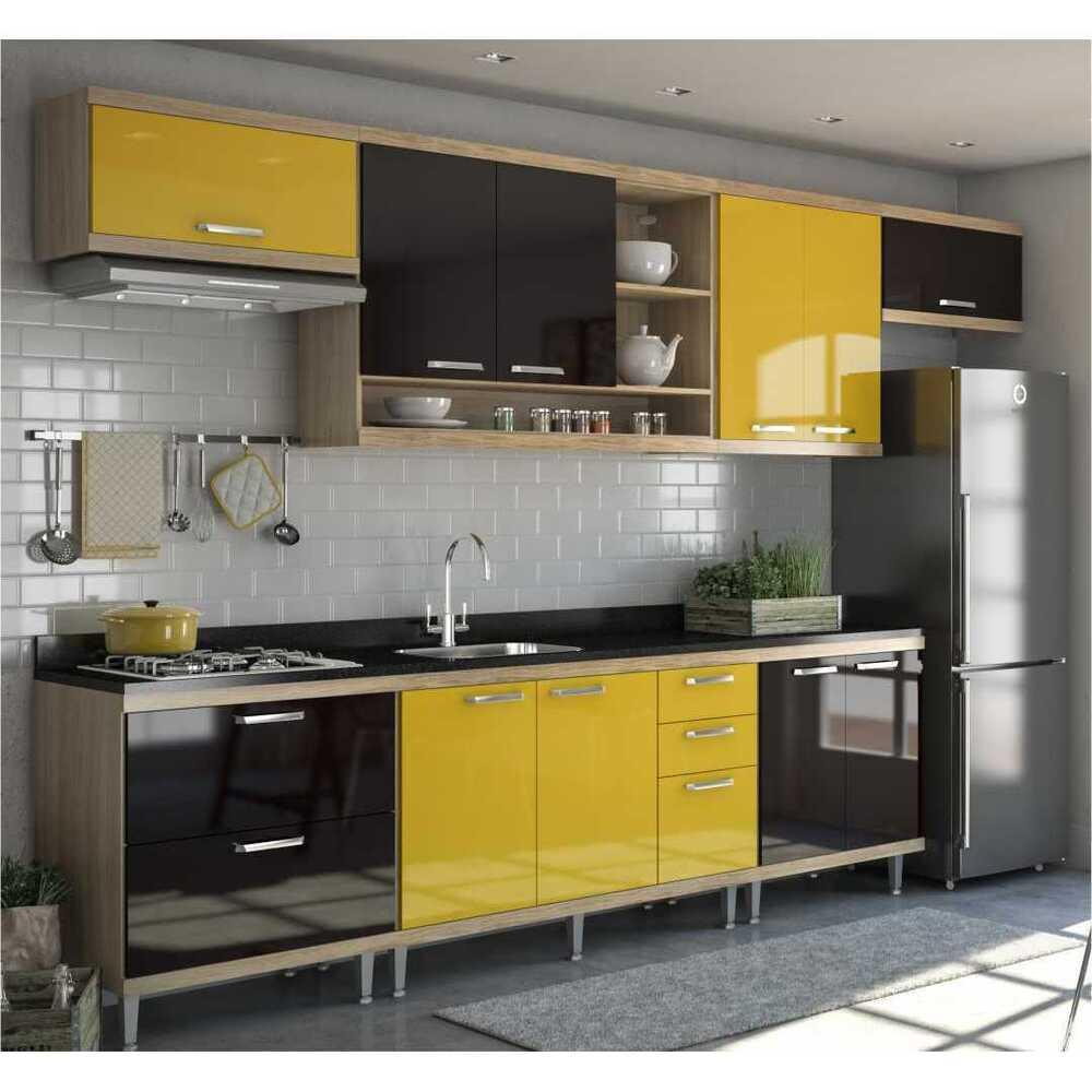 Cozinha Completa Multimóveis com 7 peças Sicília 5800 Argila/Preto/Amarelo