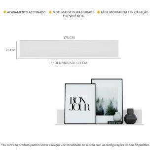 Kit 2 Prateleiras Nichos Decorativos 175 cm Multimóveis Branco
