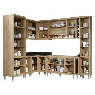 Cozinha Completa Multimóveis com 10 peças Sicília 5804 Argila/Amarelo