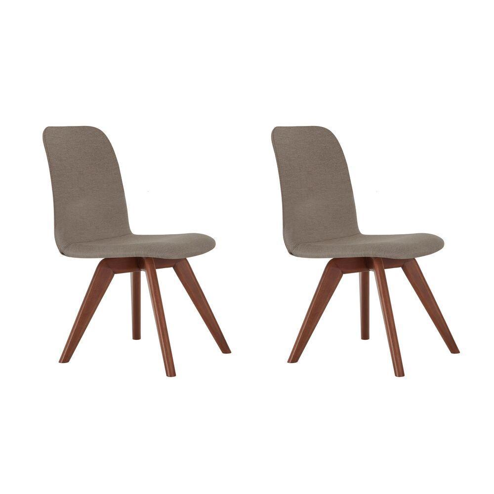 Conjunto de 02 Cadeiras de Jantar Fixa Bari Café com Leite 1777 Base Madeira cor Imbuia