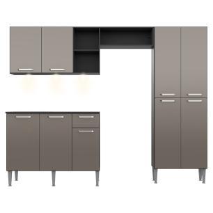 Cozinha Compacta com 3 Leds Armário e Balcão com Tampo Pequim Up Multimóveis Preta/Lacca Fumê