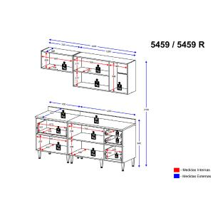 Cozinha Completa Multimóveis com 5 peças Calábria 5459 Nogueira/Branco