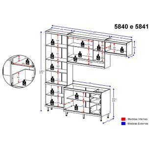 Cozinha Compacta Completa Multimóveis com 4 peças Sicília 5840 Argila/Branco