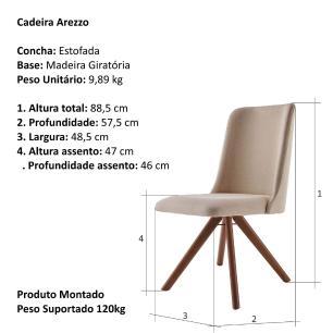 Cadeira de Jantar Giratória Arrezo Bege Escuro 4613 Base Madeira cor Imbuia
