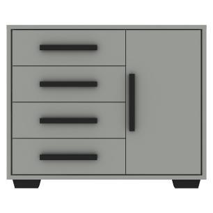 Cômoda 100% MDF 1 porta e 4 gavetas Encanto Multimóveis, puxadores perfil e pés quadrados Cinza/Pto
