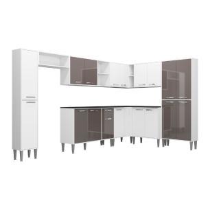 Cozinha Completa com Armário e Balcão com Tampo 9 peças Xangai Rock Multimóveis Branca/Lacca Fumê