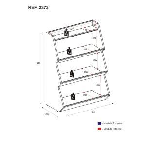 Prateleira/Organizador Multimóveis Zig Zag com 3 prateleiras 100% MDF Rosa/Branco