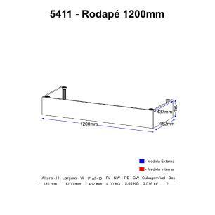 Rodapé Multimóveis Calábria prof. 120cm 5411 Nogueira