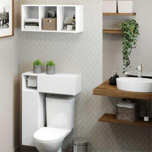 Armário de Banheiro p/ vaso sanitário c/ suporte para papel higiênico e Nicho Decorativo Multimóveis