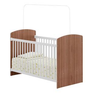 Quarto Completo Infantil Doce Sonho Multimóveis Carvalho/Branco com Berço + Guarda roupa 2 portas + cômoda 4 Gavetas