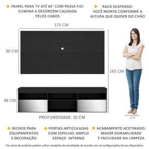 Rack Suspenso com Espelho, Painel TV 65