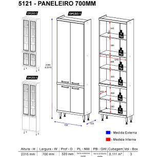Paneleiro Multimóveis Sicília prof. 32cm 5121 Argila/Preto