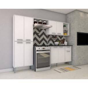 Cozinha Completa Compacta com Armário e Balcão com Tampo Coimbra Multimóveis Branco