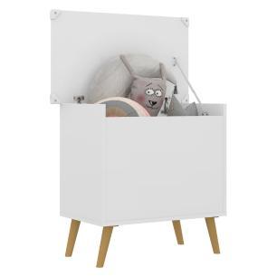 Baú Organizador Caixa de Brinquedos Retrô Multimóveis Branco/Natural