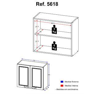 Armário Multimóveis Nevada 70cm com 2 Portas Grafite REF.5618.971