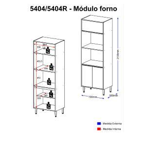Paneleiro Multimóveis Calábria para Forno e Microondas 5404R Nogueira com Rodapé