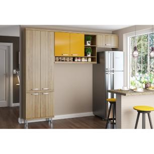 Cozinha Multimóveis Sicília 3 Peças 5160 Argila/Amarelo