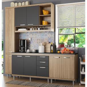 Cozinha Completa Multimóveis com 5 peças Sicília 5813 Argila/Grafite