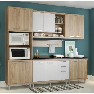 Cozinha Completa Multimóveis com 7 peças Sicília 5815 Argila/Branco
