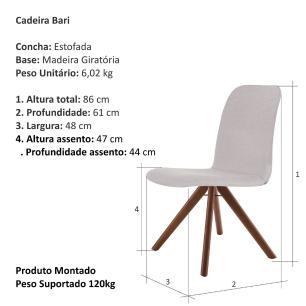 Cadeira de Jantar Giratória Bari Bege Claro 4612 Base Madeira cor Imbuia