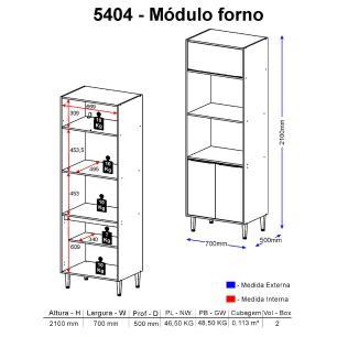 Paneleiro Multimóveis Calábria para Forno e Microondas 5404R Nogueira/Branco com Rodapé