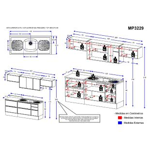 Cozinha Compacta com Pia Inox e Rodapé 8 peças Calábria Multimóveis MP3229 Madeirado/Branco