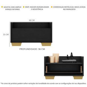 Kit com 2 Mesas de Cabeceira 60 cm com Pés Quadrados Multimóveis Preta/Natural